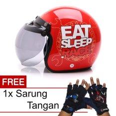 WTO Helm Bogo Retro - Eat Sleep Race - Merah + Promo Gratis Sarung Tangan