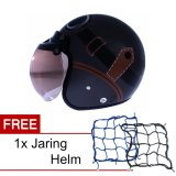 Wto Helmet Retro Bogo Kacamata Abu Abu Cokelat Promo Gratis Jaring Helm Diskon Akhir Tahun