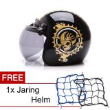 Jual Wto Helmet Retro Bogo Ride All Day Hitam Gold Promo Gratis Jaring Helm Branded