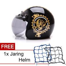 Toko Wto Helmet Retro Bogo Ride All Day Hitam Gold Promo Gratis Jaring Helm Yang Bisa Kredit