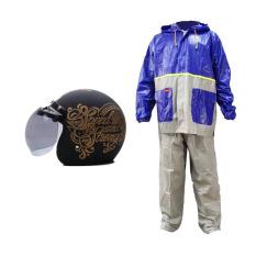 Model Wto Helmet Retro Bogo Strength Hitam Doff Gold Jas Hujan Tiger Head Setelan Biru Abu Abu Promo Combo Terbaru