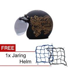Jual Wto Helmet Retro Bogo Strength Hitam Doff Gold Promo Gratis Jaring Helm Wto Helmet