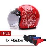 Toko Wto Helmet Retro Bogo Walk Alone Merah Silver Promo Free Masker Lengkap
