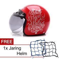 WTO Helmet Retro Bogo - Walk Alone - Merah Silver + Promo Gratis Jaring Helm
