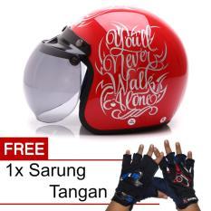 Harga Wto Helmet Retro Bogo Walk Alone Merah Silver Promo Gratis Sarung Tangan New