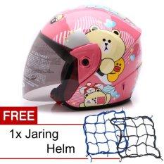 Wto Helmet Z1R Kop Cute Bear Pink Promo Gratis Jaring Helm Diskon Akhir Tahun