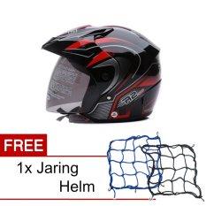 WTO Helmet Z1R PET - R2 Rider - Hitam Merah + Promo Gratis Jaring Helm
