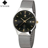 Wwoor 8816 Luxury Jam Tangan Formal Pria Ultra Tipis Rantai Stainless Steel Black Original