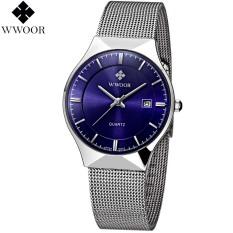 Toko Jual Wwoor 8816 Luxury Jam Tangan Formal Pria Ultra Tipis Rantai Stainless Steel Blue