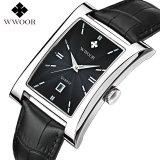 Jual Wwoor 8817 Rectangle Elegant Jam Tangan Petak Pria Kulit Asli Black Silver Black Grosir