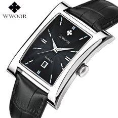 Jual Wwoor 8817 Rectangle Elegant Jam Tangan Petak Pria Kulit Asli Black Silver Black Lengkap