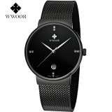 Jual Beli Wwoor 8818 Elegant And Luxury Jam Tangan Formal Tipis Klasik Rantai Stainless Steel Black West Sumatra