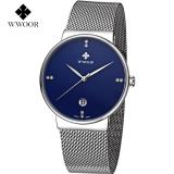 Promo Wwoor 8818 Elegant And Luxury Jam Tangan Ultra Tipis Rantai Stainless Steel Blue Akhir Tahun