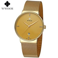Obral Wwoor 8818 Luxury And Elegant Jam Tangan Formal Pria Klasik Tipis Rantai Stainless Steel Gold Murah