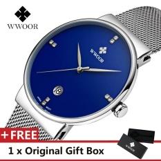 Harga Termurah Wwoor Top Brand Luxury Men S Watch Waterproof Tanggal Clock Male Olahraga Jam Quartz Jam Tangan Pria Jam Tangan Kasual Biru Intl