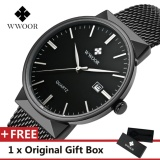 Review Toko Wwoor Top Luxury Brand Watch Famous Fashion Sports Cool Men Quartz Watches Calendar Waterproof Mesh Wristwatch For Male Intl
