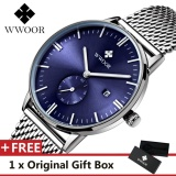 Beli Wwoor Top Luxury Brand Watch Famous Fashion Sports Cool Men Quartz Watches Calendar Waterproof Leather Wristwatch For Male Blue Intl Online Murah