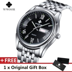 Harga Wwoor Top Merek Mewah Menonton Terkenal Fashion Olahraga Cool Men Quartz Watches Calendar Waterproof Stainless Steel Jam Tangan Untuk Pria Hitam Intl Branded