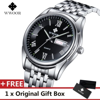 WWOOR Top Merek Mewah Menonton Terkenal Fashion Olahraga Cool Men QUARTZ  Watches Calendar Waterproof Stainless Steel cbe9e72a76