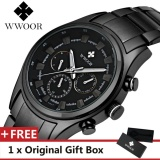 Spesifikasi Wwoor Top Luxury Brand Watch Famous Fashion Sports Cool Men Quartz Watches Calendar Waterproof Stainless Steel Wristwatch For Male Black Intl Lengkap