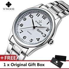 Spesifikasi Wwoor Top Merek Mewah Menonton Terkenal Fashion Olahraga Cool Men Quartz Watches Calendar Waterproof Stainless Steel Jam Tangan Untuk Pria Putih Intl Terbaru