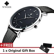Jual Wwoor Top Luxury Brand Watch Famous Fashion Sports Cool Men Quartz Watches Waterproof Leather Wristwatch For Male Black Intl Import