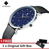 Beli Wwoor Top Luxury Brand Watch Famous Fashion Sports Cool Men Quartz Watches Waterproof Leather Wristwatch For Male Black Intl Kredit