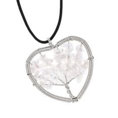 Xin Woman Jantung Opal/Miscellaneous Stone Liontin Kalung dengan Hide Tali-Internasional