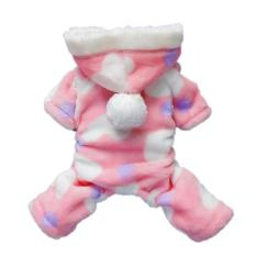 Xinfu Cute Cozy Coral Fleece Sayang Lovely Heart Anjing Mantel HoodiePet Baju (S, Pink)