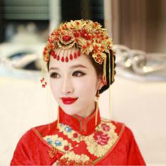 Review Xiu Pakaian Bergaya Cina Rumbai Emas Pengantin Hiasan Kepala Baru Oem
