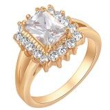 Yazilind 18 K Square Putih Cincin Solitaire Dengan Banyak Kecil Crystal Berlapis Emas Kaya Women6 Intl Yazilind Diskon 40