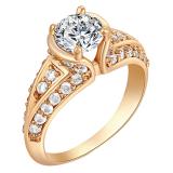 Spesifikasi Yazilind 18 K Wanita Fashion Cincin Solitaire Berlapis Emas Pertunangan Kristal Putih Band5 25 Intl Paling Bagus