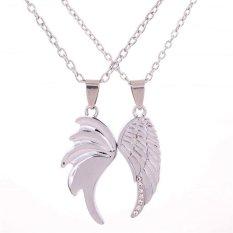 Yazilind Pasangan Kalung Keperakan Wing Angel Pecinta Desain Pendant Crystal Inlay Perhiasan Oem Murah Di Tiongkok
