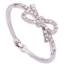 Harga Yazilind Fashion Women Jewelry Bowknot Crystal Silver Plated Bangle Bracelet Intl Yazilind Original