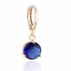 Yazilind Jual Hot Fashion Round Blue Crystal Berlian Imitasi Berlapis Emas Wanita Giwang Pesta Hadiah Perhiasan