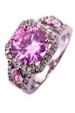 Harga Yazilind Retro Hollow Pink Silver Disepuh Cut Amethyst Crystal Women Cincin Pernikahan Ukuran 10 Pink Tiongkok