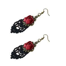 Toko Yazilind Women Handmade Dikepang Bunga Merah Hitam Party Earrings Terlengkap