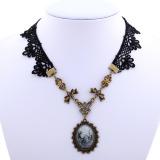 Promo Yazilind Women Retro Black Lace Bowknot Adjustable Necklace Murah