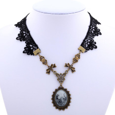 Spesifikasi Yazilind Women Retro Black Lace Bowknot Adjustable Necklace Bagus