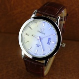 Beli Yazole 296 Kualitas Merek Watch Pria Watches Male Clock Leather Strap Quartz Watch Wrist Kalender Tanggal Kuarsa Watch Brown Putih Dengan Kartu Kredit