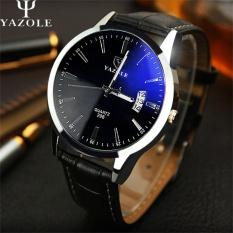 YAZOLE 296 Kualitas Merek Watch Pria Watches Male Clock Leather Strap QUARTZ Watch Wrist Kalender Tanggal Kuarsa-watch Hitam Biru-Intl
