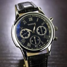 Yazole 317 Jam Tangan Analog Leather Black Strap - Black Dial