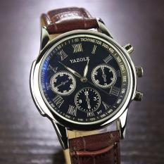 Yazole 317 Jam Tangan Analog Leather Black Strap - Brown Dial
