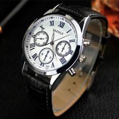 Yazole 317 Pria Bisnis Waterproof Belt Non Mesin Luminous QUARTZ Watch (Putih/Hitam)-Intl