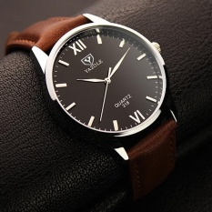 Jual Yazole 318 Pria Sederhana Tahan Air Roman Watch Bisnis Watch Black Brown Intl Original