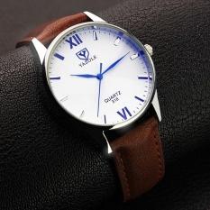 Spesifikasi Yazole 318 Pria Sederhana Tahan Air Roman Watch Bisnis Watch Putih Coklat Intl Baru