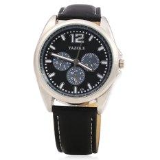 Spesifikasi Yazole 335 Male Quartz Watch Luminous Pointer Leather Strap Sport Wristwatch Black Murah
