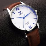 Beli Yazole Jam Tangan Pria Fashion Casual Faux Leather Quartz Analog Men Lady Watch Brown Strap White Dial Yang Bagus