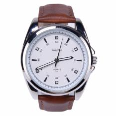 Review Terbaik Yazole Jam Tangan Pria Vintage Leather Band Fashion Stainless Steel Sport Bussiness Quartz Wrist 331 Brown White