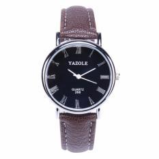Yazole Jam Tangan Wanita Leather Analog Quartz Roman Scale 30M Water Resistant 268 Coffee Black Yazole Diskon 40
